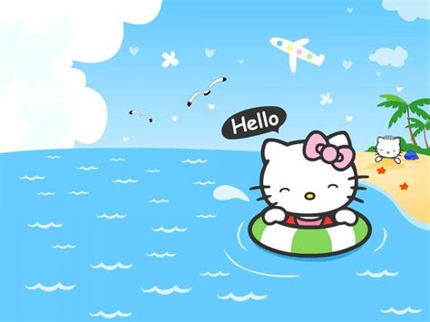 wallpaper hello kitty begerak kitty beach koleksi gambar foto animasi animasiwebid