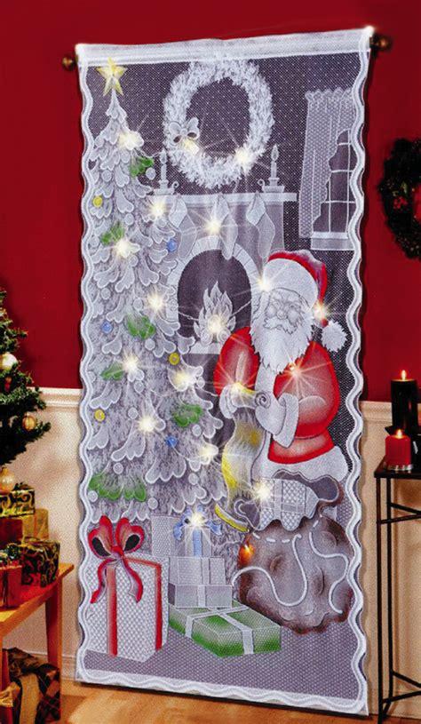led lighted christmas santa curtain panel window doorway