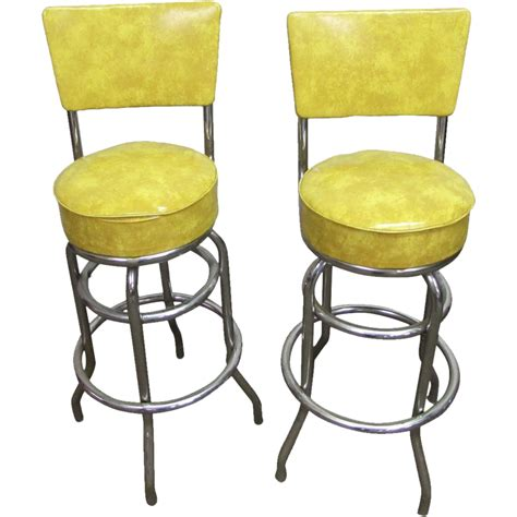 Yellow Bar Stools m deitz sons vintage yellow bar stools from