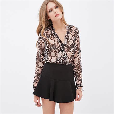 Sale Style Blouse Import sale blouses plus size blouse european style new v neck slim digital printing flower
