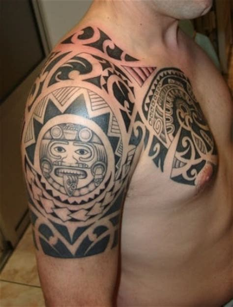 black ink tattoos for men black ink maori shoulder and chest for