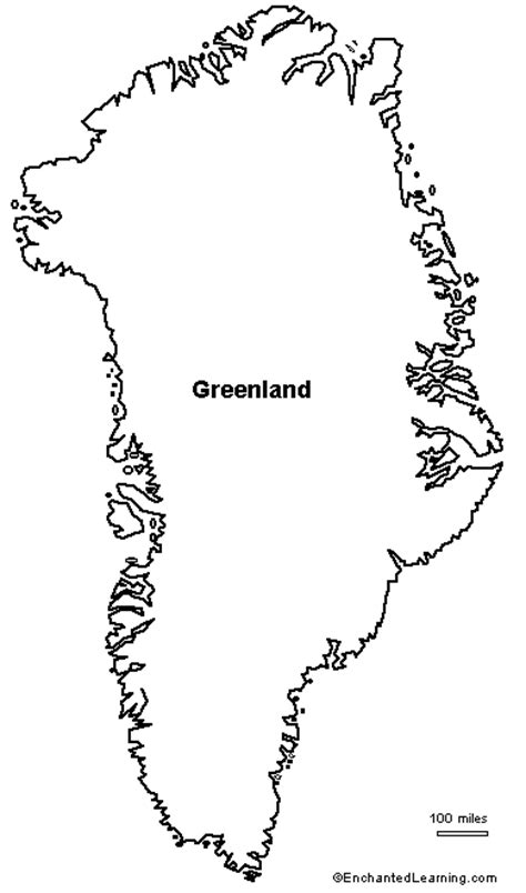 Greenland Map Coloring Page | outline map of greenland enchantedlearning com