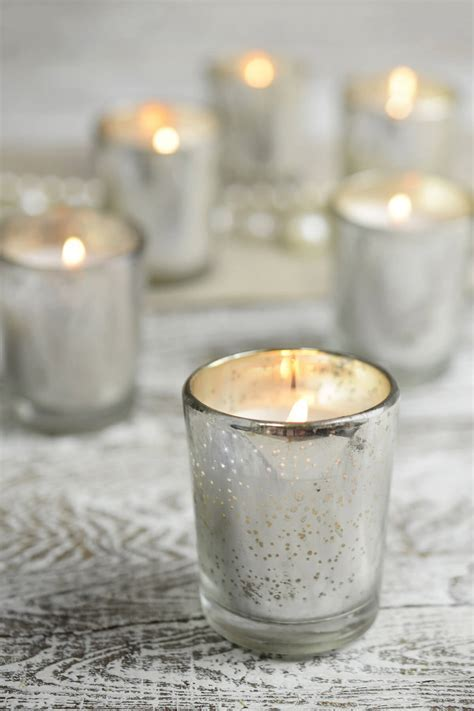 12 Candles and Silver Mercury Glass Votive Holders