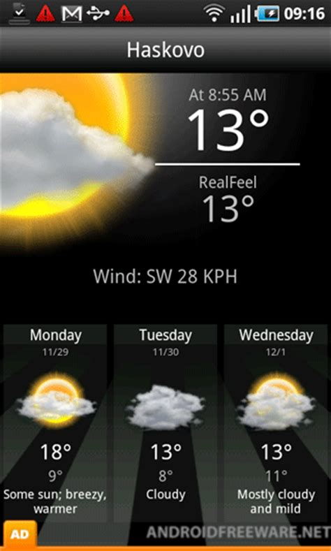 accuweather for android accu weather free app android freeware