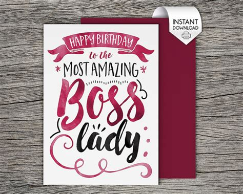 printable birthday cards boss printable card happy birthday to the most amazing boss lady