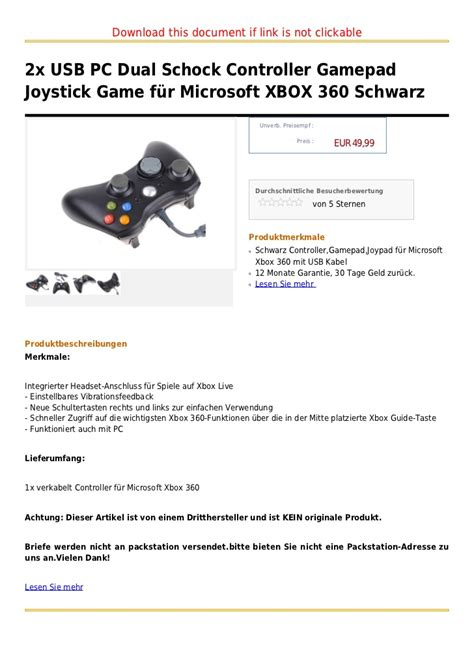 Controller Für Xbox 360 1592 by 2x Usb Pc Dual Schock Controller Gamepad Joystick