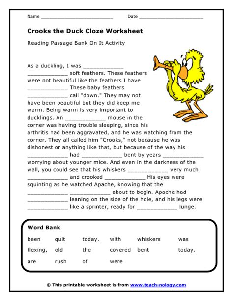 Free Language Arts Worksheets by Crooks The Duck Cloze Worksheet