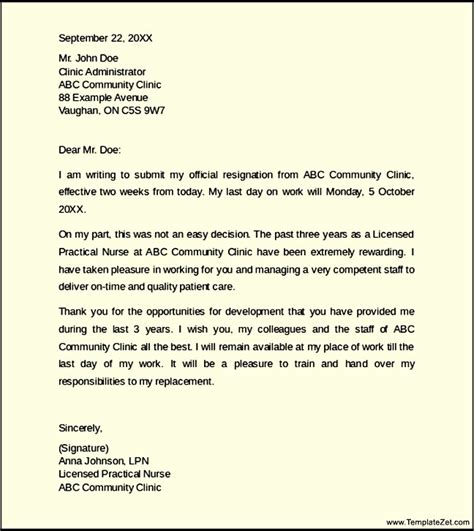 Resignation Letter To Nursing Home Resignation Letter With 2 Weeks Notice Templatezet