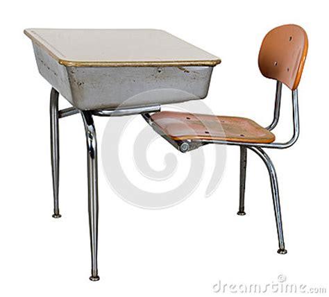 retro school desk isolated on white royalty free stock