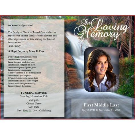 Funeral Brochure Template Downloadable Funeral Bulletin Covers Free Funeral
