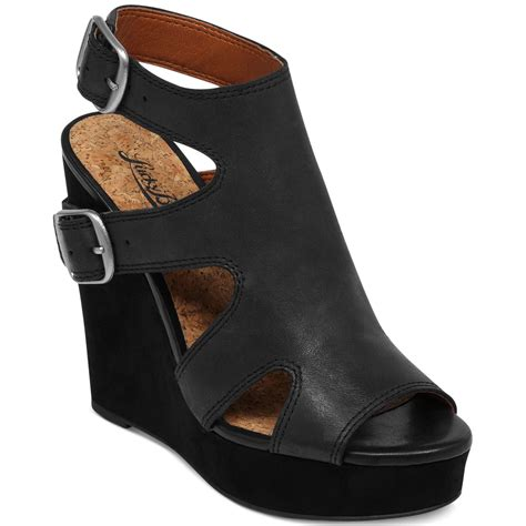 lucky brand wedge sandals lucky brand raaa platform wedge sandals in black lyst