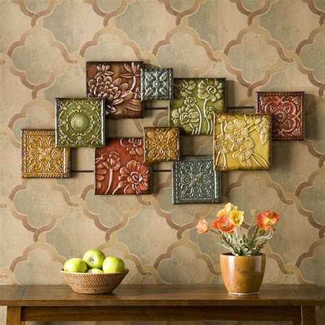 Wall Decor And Home Accents Metal Wall Decor Abstract Sculpture Multi Color Floral Squares Home Accent Ebay