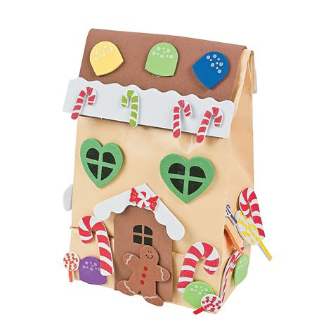 Paper Craft Kit - paper gingerbread house gift bag craft kit