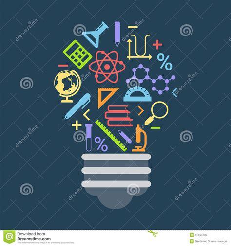 4 designer illustration style education light bulb shape idea concept formed by education icons