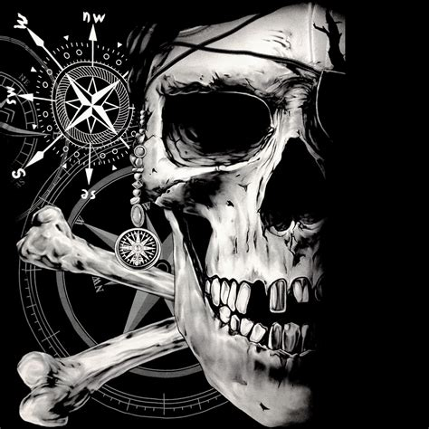 the pirate skull and the compass