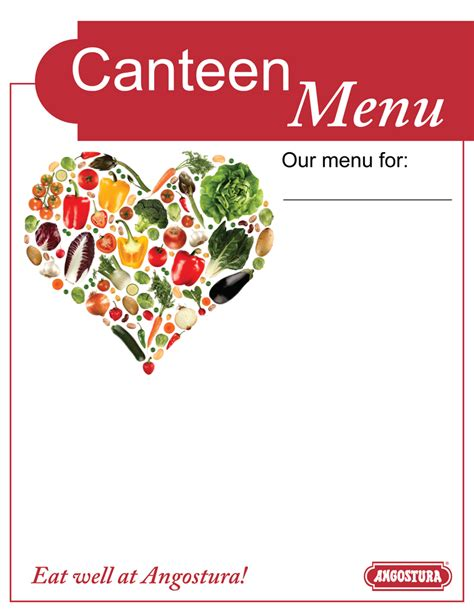 canteen menu template the paria publishing co ltd