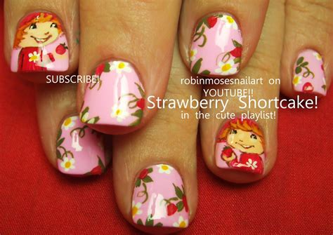 tutorial nail art strawberry strawberry shortcake nail art design tutorial youtube