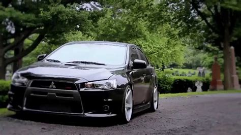 stanced mitsubishi lancer stanced mitsubishi lancer evolution x on vossen wheels