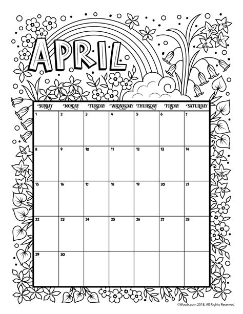 april 2018 calendar printable page april 2018 coloring calendar page woo jr activities