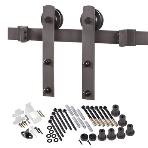 Truporte 8 Ft Premium Bronze Interior Modern Country Barn Door Track Hardware