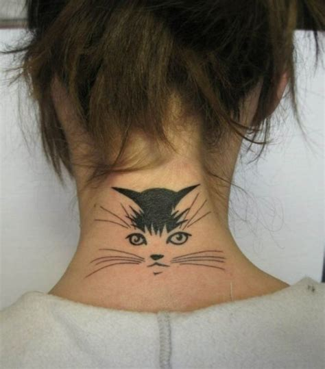cat face tattoo 43 cat neck tattoos