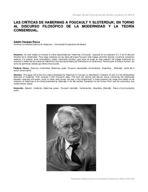 foucault y la teoria 849784050x las cr 205 ticas de habermas a foucault y sloterdijk en torno al discurs