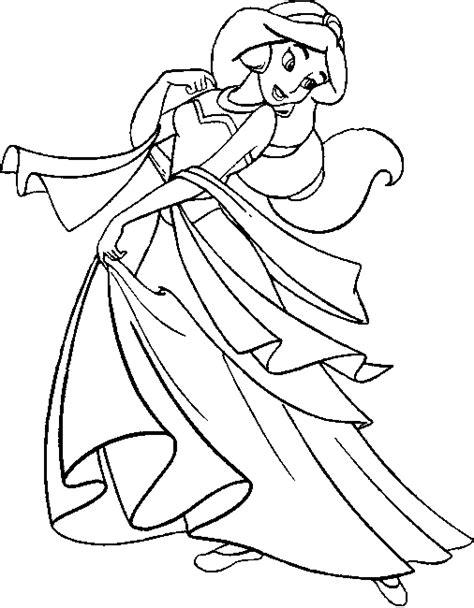 Coloriage Jasmine la princesse avec une robe à imprimer et