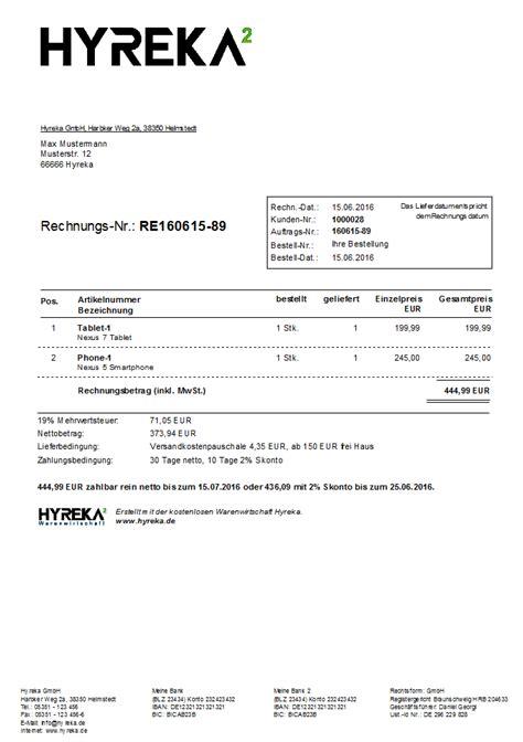 Kleinunternehmer Rechnung Geschäftskunden Brutto Order Netto Hyreka Warenwirtschaft