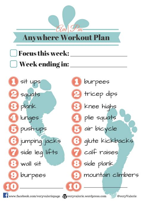 free printable am pm workout plan quot veryvalerie quot