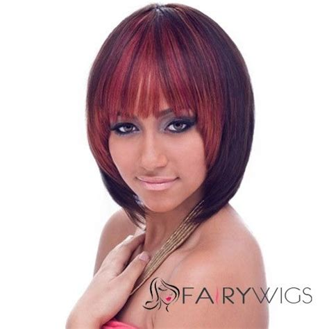 12 inch weave hair styles for women mysterious short straight red full bang african american