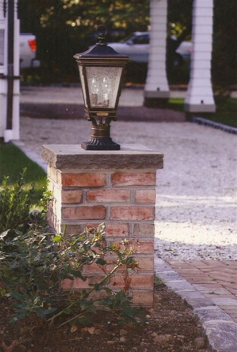 driveway pillars with lights how to build brick columns yard landscaping tips