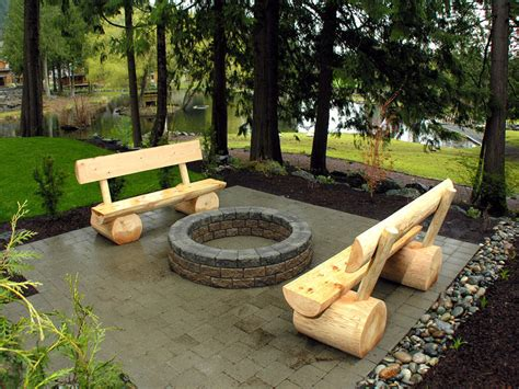 wooden fire pit bench custom built log benches and wood burning fire pit in the