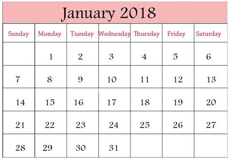 january 2018 printable calendar january 2018 printable calendar