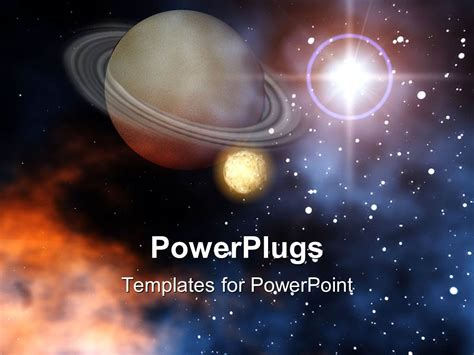 templates powerpoint space powerpoint template ringed planet saturn with moon stars