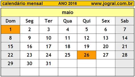 calendario para imprimir 2016 mes por mes calend 225 rio mensal maio de 2016 imprimir m 234 s de maio 2016