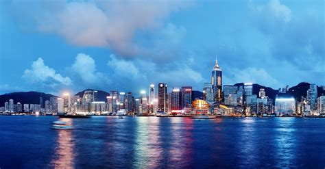 china house shop city hong kong china city skyline lights sea river night ships buildings sky clouds hong