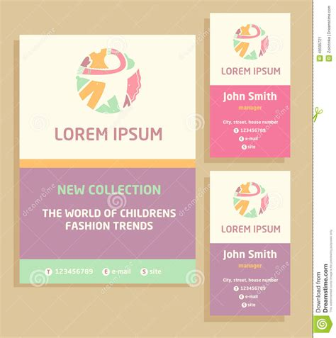 kid card template vector logo flyer and business card for a stock vector