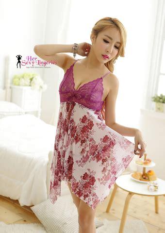 Pajamas Floral Lace Suspenders Spandex Baju Tidur lingeries baju tidur isteri