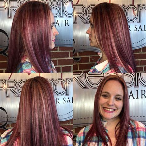 burgundy hair color  blonde highlights  violet