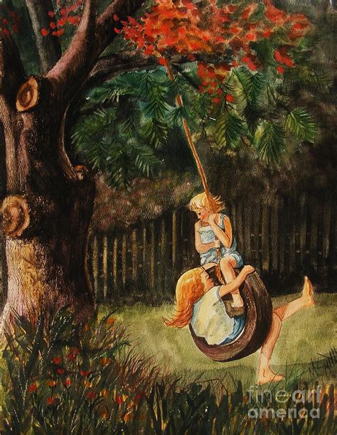 swing painting the old tire swing by marilyn smith
