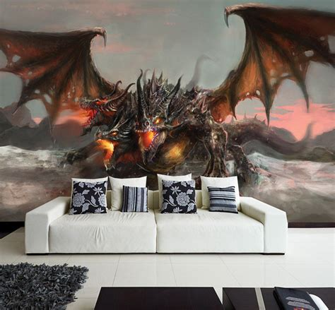 Train Wall Mural wall removable sticker dragon fantasy tale horror fire