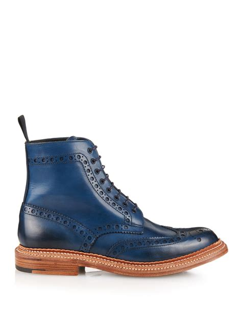 blue leather boots lyst foot the coacher fred leather brogue boots in blue