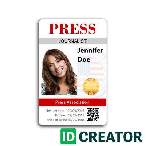 press badge template press id card order in bulk from idcreator