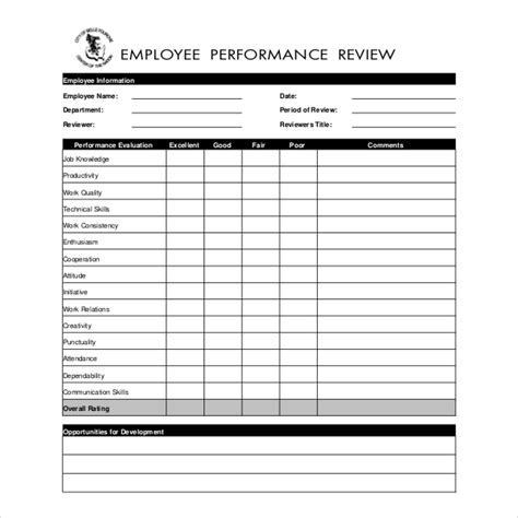 13 Sle Employee Review Forms Sle Forms Employee Evaluation Template