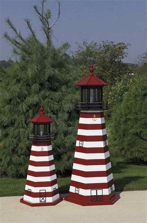 Lighthouse Garden Decor Amish Made Wooden West Quoddy Lighthouse Amish Made Lighthouses Amish Garden Accents