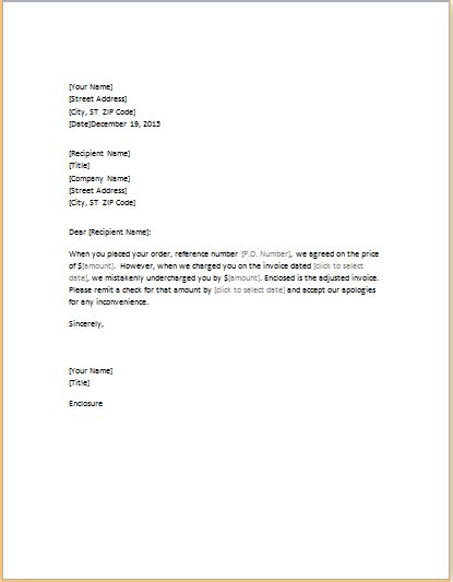 Invoice Letter Writing Letter Correcting Invoice That Undercharged Word Excel Templates