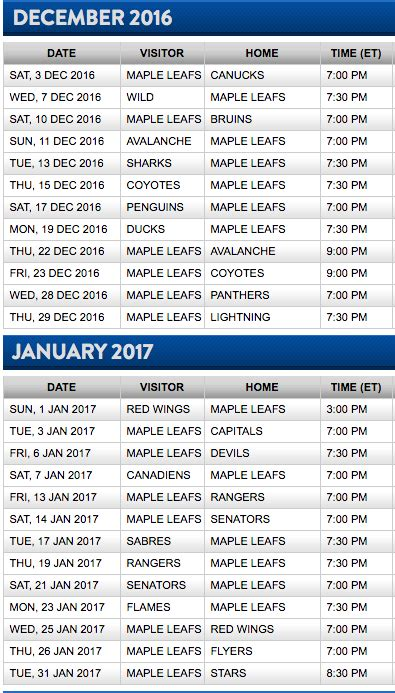 printable habs schedule toronto maple leafs release 2016 17 nhl schedule
