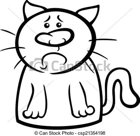 sad cat coloring page eps vectors of sad cat cartoon coloring page black and