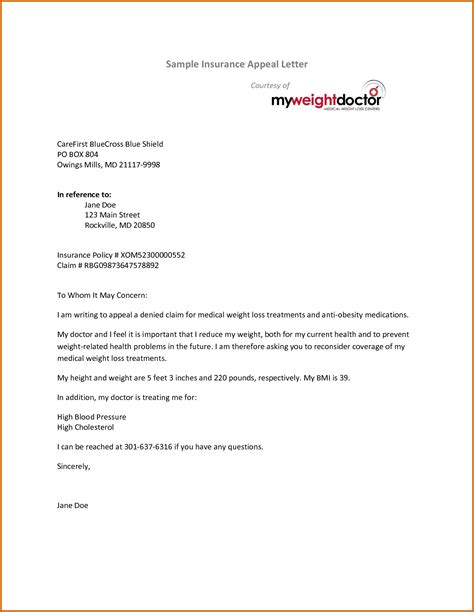 insurance letter template 13 appeal letter for insurance claim lease template