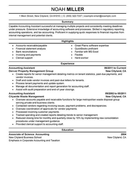 Resume Templates Accounting by Best Accounting Assistant Resume Exle Livecareer